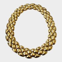 Ciner Golden 'Quilted Look' (Diamond-Pattern) Collar Necklace