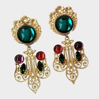 Gilt Filigree & Jewel-tone Glass Cabochon Drop Earrings, Pos. French