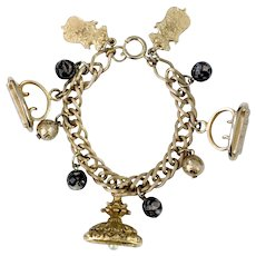 Germany Victorian Revival Watch Fob & Heraldic Emblems Charm Bracelet