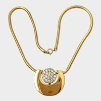 Givenchy Dated 1976 Minimalist Modernist-Style Necklace with Rhinestone Pavé