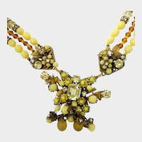 Haskell Jonquil Art Glass & Faux Citrine Crystal Drop Necklace