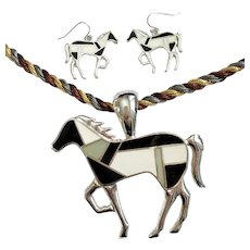 Silvery Horse Necklace & Earrings Set, Mondrian-Style: Black, White & MOP Colors