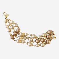 Triple Strand Big Faux Pearl Bracelet with Gilt Accents, Rare Early K.J.L.