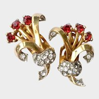 Deco-Style Red Floral Posey Earrings: Unsigned Mazer