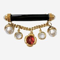 St John Dangly Brooch with Black Enamel, Faux Pearls & Red & Clear Crystals