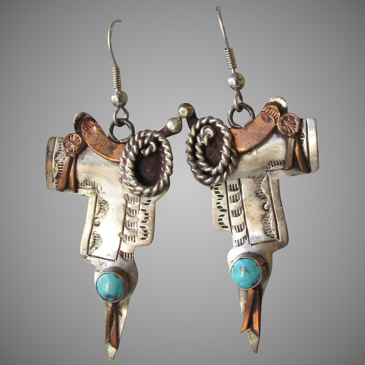 17c973917 Vintage Western Cowgirl Sterling Silver, Copper & Turquoise Horse SADDLE Dangle  Earrings