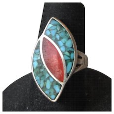 Vintage Native American Navajo Sterling Silver Inlaid Turquoise Chip & Coral Ring, Size 5