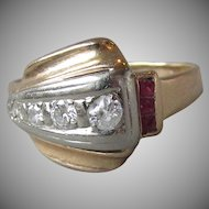 1940's Vintage Retro 14k Gold, 4 Diamond & 3 Ruby Ring