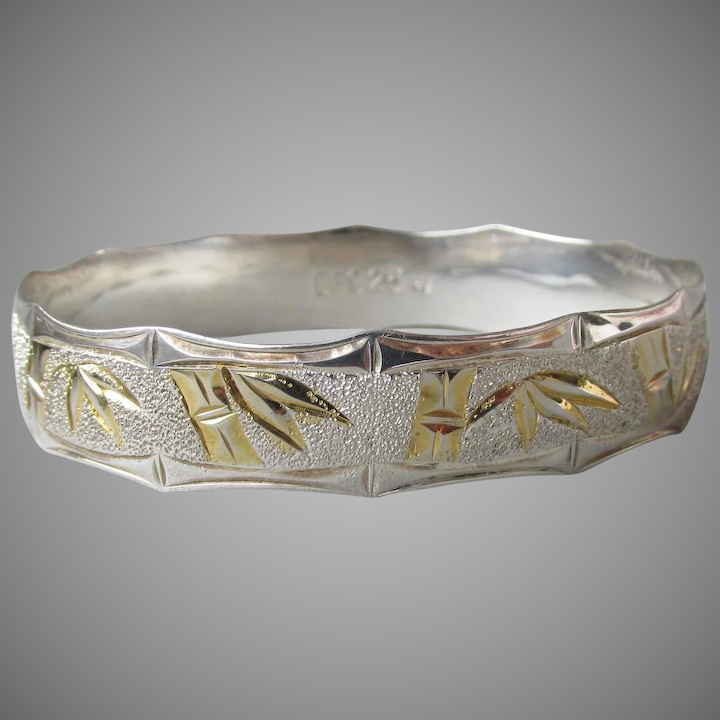 Vintage Gold Plate Sterling Silver Hawaiian Bamboo Etch Bangle Bracelet Size Xl Large 8 1 2