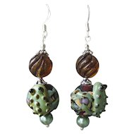 """My Secret Garden"" Lampwork Art Glass Artisan Earrings, ""Frog & Amber Bubbles"" #31"