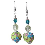 """My Secret Garden"" Lampwork Art Glass Artisan Earrings, ""Pastel Bouquet"" #21"