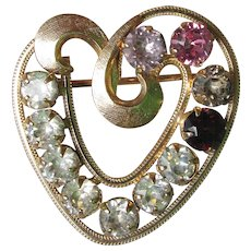 Valentine's Day Vintage Signed CURTIS 14K Gold Filled Mother's HEART Birthstone Pin