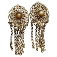LONG 1960's Vintage Gold Tone Filigree & Faux Tiger Eye Multi Chain Dangle Earrings