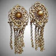LONG 1960's Vintage Gold Tone Filigree & Faux Tiger Eye Multi Chain Dangle Earrings