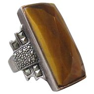 Huge!  Vintage Sterling Silver & Marcasite Tiger Eye Ring, Size 8.5