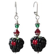 """My Secret Garden"" Lampwork Art Glass Artisan Earrings, ""Fruit Garden, Blackberries"" #36"