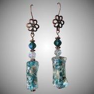 """My Secret Garden"" FOIL Art Glass Artisan Earrings, ""The Garden Hose"" #44"