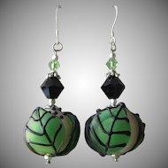 """""""My Secret Garden"""" Lampwork Art Glass Artisan Earrings, """"Great Balls of Foliage"""" #40"""