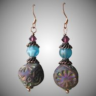 """My Secret Garden"" Ceramic & Art Glass Artisan Earrings, ""Ancient Stepping Stones"" #41"