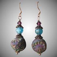 """My Secret Garden"" Ceramic & Art Glass Artisan Earrings, ""Ancient Stepping Stones"" #41"