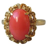 Antique Edwardian 18K Gold Natural Italian Mediterranean Coral Vintage Victorian Ring