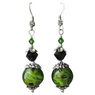 """My Secret Garden"" Boro Art Glass Artisan Earrings, ""Moss on Rock II"" #49"