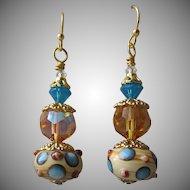 """""""My Secret Garden"""" Art Glass Artisan Earrings, """"Ice on Golden Pond"""" #61"""
