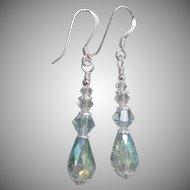 """""""My Secret Garden"""" Art Glass & Swarovski Crystal Artisan Sterling Silver Dangle Earrings, """"Raindrops"""" #62"""