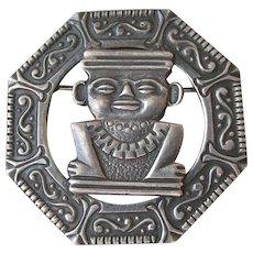 Early Vintage Columbian 900 Silver Inca Design Pin