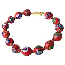 Vintage BIG Red Hand-Made Knotted Venetian Millefiori Italian Art Glass Bead Bracelet