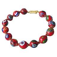 Vintage Hand-Made Knotted Venetian Millefiori Italian Art Glass Bead Bracelet