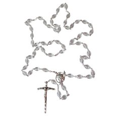 Heavy BIG Vintage Signed Sterling Silver & Oval Crystal Bead Rosary
