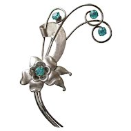 Signed 1940's Harry Iskin Retro Sterling Silver & Aqua Rhinestone ROSE Flower Bouquet Brooch, Vintage WW2 Pin