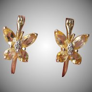 Dainty Gold Washed Sterling Silver Citrine Pretty BUTTERFLY Hoop Earrings