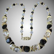 Gorgeous 1920's Vintage Black & Clear Crystal with Brass Flapper Necklace