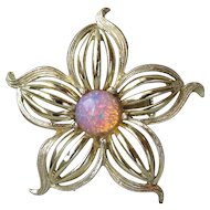 1960's Vintage Harlequin Foil Glass Faux Opal Flower Pin