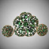 Vintage BIG Emerald Green Rhinestone Clover Pin & Earrings Set