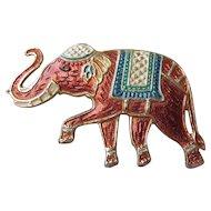 Vintage Signed WARNER Enamel Elephant Pin