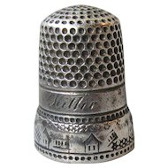"""Antique Sterling Silver Thimble with Houses,Fences, Stars, Engraved """"Kittie"""""""