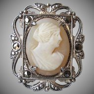 Pretty 1920's Vintage Sterling Silver Shell CAMEO Pin