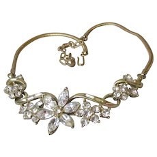 Pristine Signed Coro HONORE Crystal Flower 1955 Vintage A. Katz Necklace, Book & Ad Piece