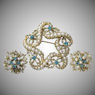 1960's Starfish & Flower Faux Pearl, Aqua Rhinestone Pin & Earrings Set - Vintage Demi Parure