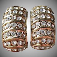 Signed CINER Wide Rhinestone Semi Hoop Vintage Earrings