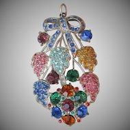 Gorgeous! 1930's Pot Metal Multi Color Rhinestone Vintage Flower Corsage Pendant