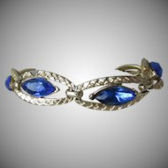 Pretty Vintage Royal Blue Marquise Rhinestone Oval Gold-Tone Link Bracelet