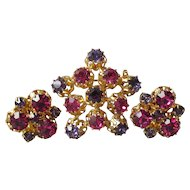 Made In Austria Pink, Purple Rhinestone Pin & Earrings Set, Vintage Demi Parure