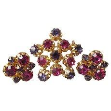 Made In Austria Pink, Purple Rhinestone Pin & Earrings Set, Vintage Demi Parure
