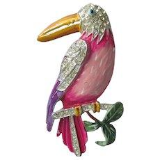 Jose Rodriguez Toucan Tropical Bird Enamel & Rhinestone Pin, 1940 Vintage Brooch