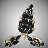 Juliana D&E Black Marquise Rhinestone Pin & Earrings Set, Vintage Demi Parure