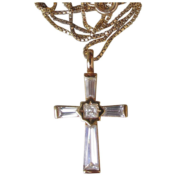 Vintage gold plated sterling silver cubic zirconia cross pendant vintage gold plated sterling silver cubic zirconia cross pendant necklace aloadofball Image collections
